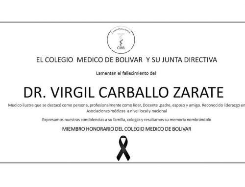 Condolencias desde el Colegio Médico de Bolívar