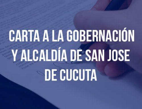 Carta a la gobernación y alcaldía de san Jose  de Cucuta